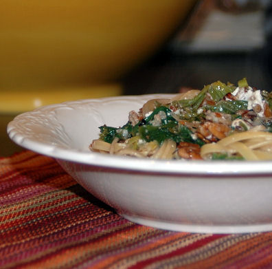 linguine with mustard greens feta and pecans