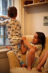 _MG_9865 (Jenna Muirhead) Tags: boy playing window children fight bedroom fighting pulling pyjamas