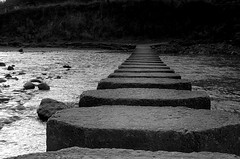 Stepping stones (~Glen B~) Tags: uk england bw nikond70 cleveland steppingstones northyorkshire staithes cowbar abigfave p1f1 tamron26300mm satelliteportfolio