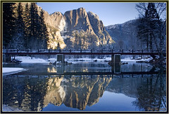 Frigid Morning (Thi) Tags: yosemitefalls valley yosemite yosemitevalley mercedriver swingingbridge yosemitewinter