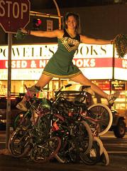 Zoobomb Pile (EthanPDX) Tags: oregon portland cheerleader minibike zoobomb powellsbooks pigpile