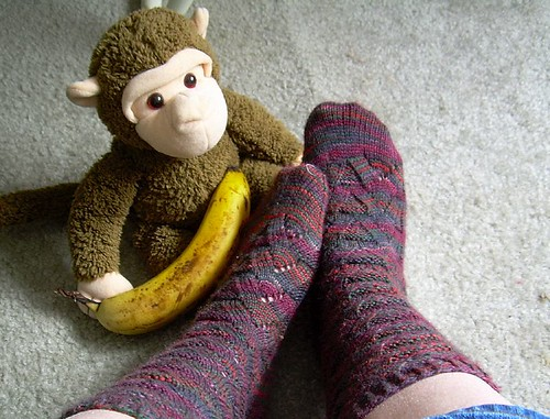 Completed Monkey Socks