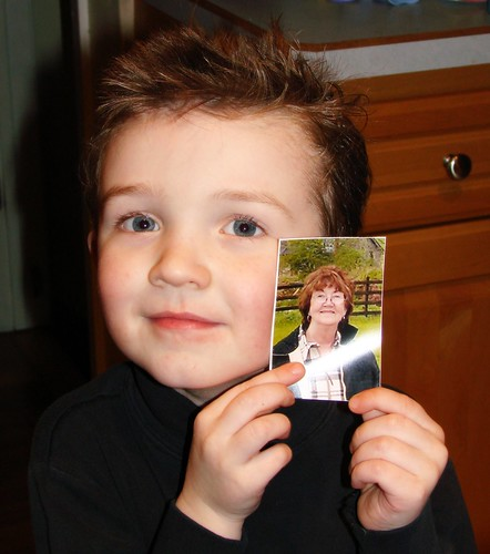Ronan and a picture of his beloved Nana