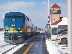 A Via Rail locomotive parked at Fallowfield station, near Ottawa. (Steve Brandon) Tags: railroad winter ontario canada station geotagged diesel ottawa railway trains locomotive viarail nepean genesis lrc barrhaven fallowfield generalelectric bombardier carriages 903    p42  generalelectricgenesis p42genesis generalelectricp42genesis genesislocomotive bombardierlrc