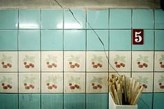 (pchweat) Tags: blue wall composition d50 tile grid flat geometry 5 five bangkok crack number explore thai chopsticks ceramictiles sigma1020
