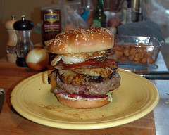 Mega-Hamburger-Three (Marshall Astor - Food Fetishist) Tags: food dinner giant big burger plate sandwich foodporn hamburger chow huge friedegg fiestaware toobig sesameseedbun burgernight icantbelieveiatethewholething diabetesinducing thingsiveeaten pineappleslices cookedrare morethanamouthfull meatsweatsyeah
