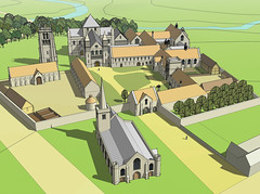 Reconstruction of Keynsham Abbey circa C15th (archidave) Tags: art church abbey saint st architecture work john mine drawing somerset architect baptist keynsham augustinian whatido