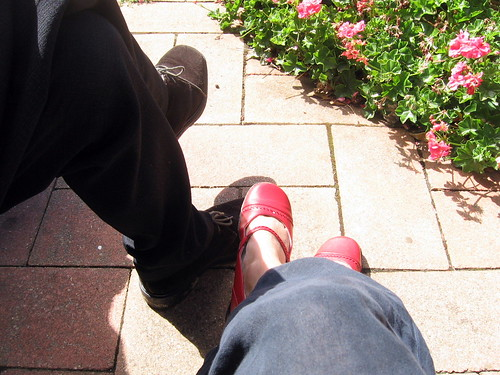 wedding shoes in the sun