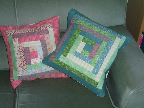 Green patchwork cushion 1
