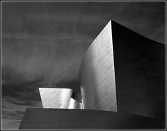 Disney Hall (Chris28mm) Tags: california blackandwhite bw usa film analog losangeles explore 4x5 frankgehry largeformat disneyhall redfilter acros toyo manray 210mm chris28mm copyright2007chrisjackson explore3272007
