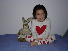 Corinne and her bunny, 4 years old!