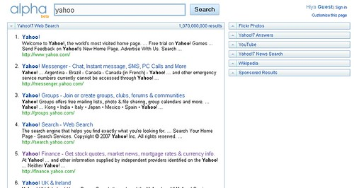 Yahoo Alpha Personalized Search Engine