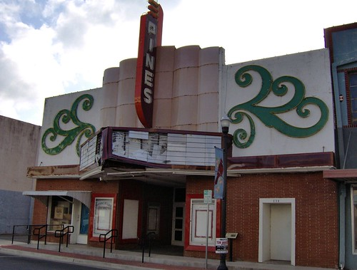 damaged pines theatre marquee