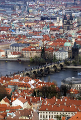 Charles Bridge (Karlův most) from the Petrin Tower, Prague - by Craig Grobler