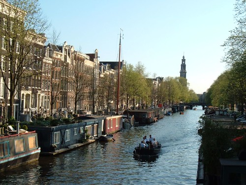 Canal scene on a hot April day, Amsterdam