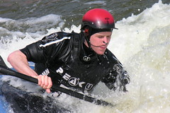 Bracing the Wave (Cyberslayer) Tags: nottingham greatbritain white water whitewater kayak centre helmet paddle peak canoe watersports rapid slalom holmepierrepont nationalwatersportscentre slalomcourse