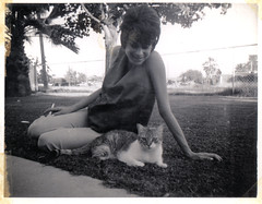 mom with a cat, 1968 (deflam) Tags: old arizona woman phoenix cat vintage mom backyard mother retro smoking western 1960s 1968 familyphotos feralcat olden