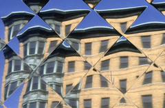 Diamond Reflection (1) (AntyDiluvian) Tags: urban distortion reflection boston wall cityscape broadway diner diamond neighborhood westbroadway southboston rectangular southie muls diamondpattern mulsdiner