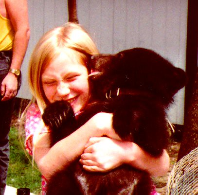 Abbey at a petting zone near Tazewell, about 1998