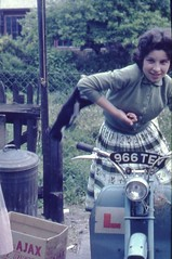 Girl on a moped 1960's Jenifer Cutting Colchester St julian Grove (Photos by Alf Jefferies) Tags: alf jefferies people photos past boys germany germans pretty woman knickers