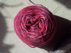 hand dyed yarn, in cake form (half used)