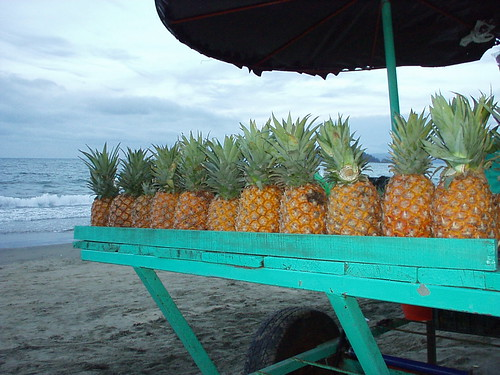 Pineapple cart by the ocean