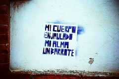 Mi cuerpo enjaulado. Mi alma un barrote (almogaver) Tags: street blue streetart color art film azul analog 35mm lomo lca xpro crossprocess slide lomolca slidefilm girona catalunya blau  analogic e6c41 almogaver procscreuat davidroca