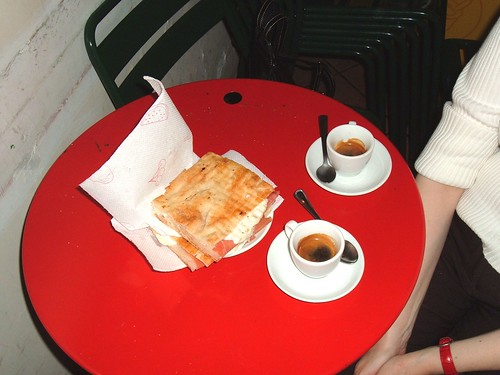 A snack in an off-the-beaten path café in Trastevere, Rome