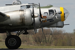 Liberty Belle B-17 Whizzes Down The Runway (Kris Klop) Tags: plane airplane flying airport aircraft aviation wwii des b17 fortress dsm moines desmoines kdsm