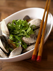 Steamed asari clams w/ ponzu (Ann&Ming) Tags: japanesefood clams asari flickrsbest mywinners