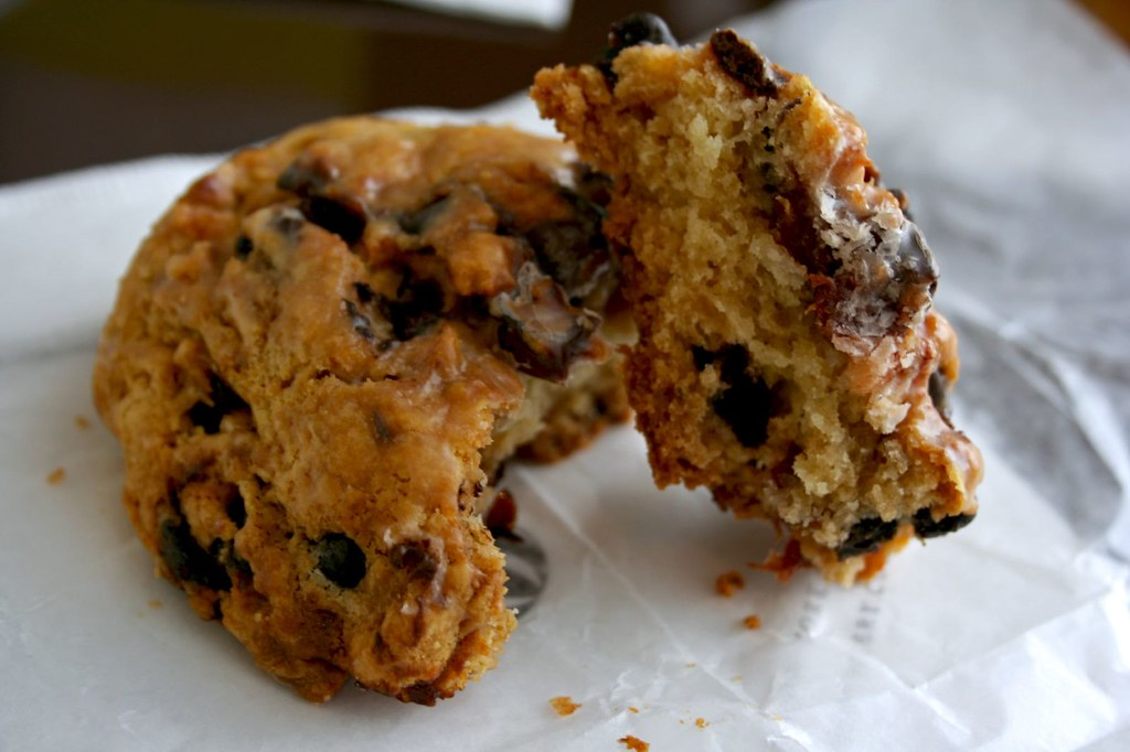 Chocolate Cherry Scone in half