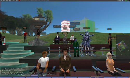 The crowd to watch Mitch Kapor's keynote at the Life 2.0 conference in Second Life