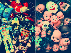 Plastic Fantastic (boopsie.daisy) Tags: vintage fun toys monkey eyes diptych panda dolls faces many clown smiles happiness collection robots 101 collections dollheads bunch multiple clowns lots dollies kewpie robotic