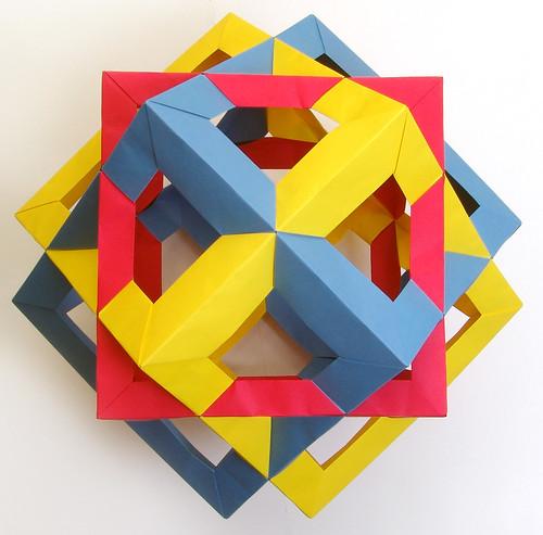 すべての折り紙 折り紙 多面体 : of 3 Cubes (4-fold axis) : 【多面体 ...
