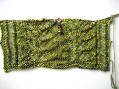 leaf scarf in sea wool
