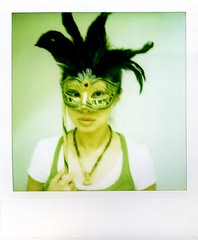 funnyman ;p (Jersey Yen) Tags: venice italy selfportrait black me polaroid mask handmade gorgeous feather covered fancy jersey magnify greenish maskedfaces almostfaces sx70sonar withoutndfilter kjhome