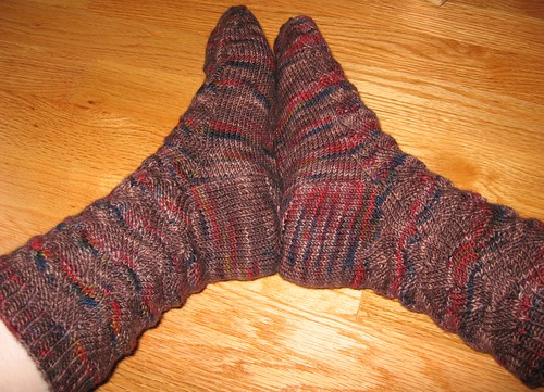 Monkey socks pair modeled