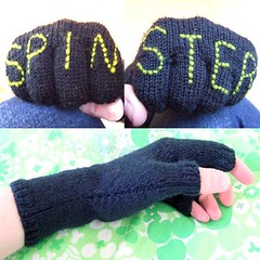Fingerless gloves (Cross-stitch ninja) Tags: knitting embroidery spin knit craft gloves glove knitted embroidered handinglove craftivism embroider fingerlessgloves spinster