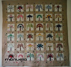 """Arbres"" (manu/manuela) Tags: trees green leaves arbres quilting blocks quilts patchwork manuela feuilles handquilted 10faves quiltmain piecednoappliqued"