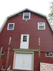 New siding on the Red Barn