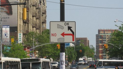 Traffic sign in Flushing Queens, NY.
