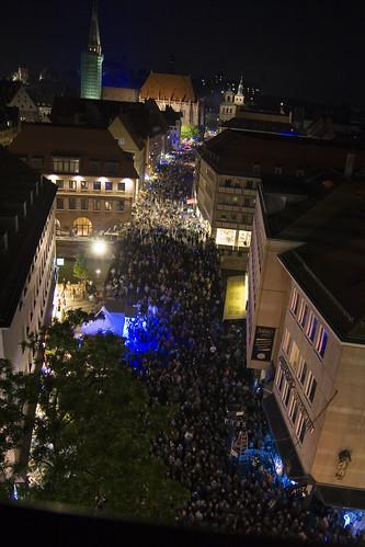 Blaue Nacht Nürnberg, Bild vom Parkdeck