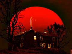 Blood Red Moon (rcvernors) Tags: old trees light red orange moon house art halloween window farmhouse photoshop dark geotagged big decay digitalart surreal haunted creepy computerar