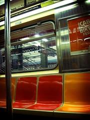 Bright Orange Seats (cybertoad) Tags: nyc newyorkcity vacation ny newyork photoshop subway metro fakelomo thebigapple lomoscript cmwd cmwdorange