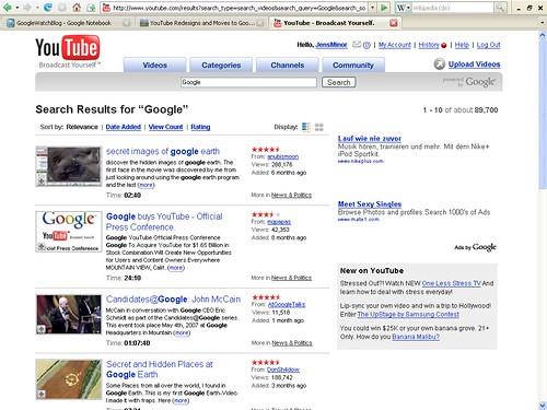 YouTube Suchergebnisse text