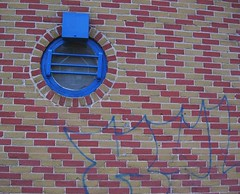 zig zag (greenhem) Tags: blue urban canada window metal wall architecture quebec montreal bricks 2006 february
