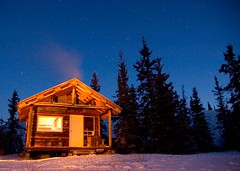 Cabin (sunrisesoup) Tags: longexposure nightphotography trees winter snow canada lightpainting cold night sunrise stars cabin getaway freezing yukon evergreen whitehorse labarge laberge nauticaltwilight sunrisesoup