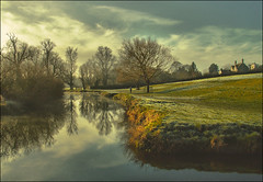 . Grantchester - (The Jogger) . (3amfromkyoto) Tags: uk morning trees houses cambridge england sky woman house reflection tree bird english church water field grass clouds pen reflections river landscape cou