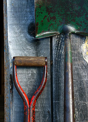 freshly oiled tools (Chris Lombardi) Tags: red stilllife green tools oiled spade hayfork