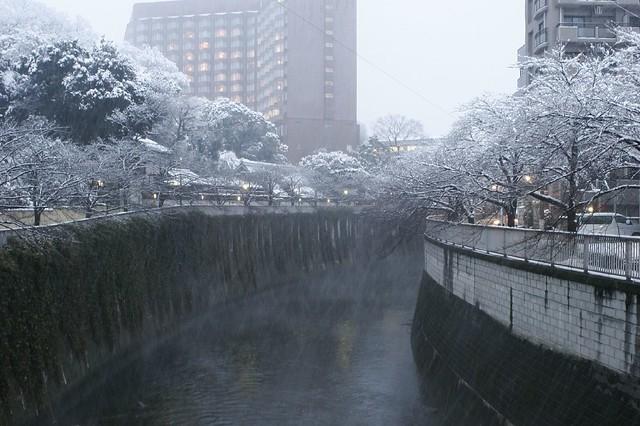 川面に降り注ぐ雪